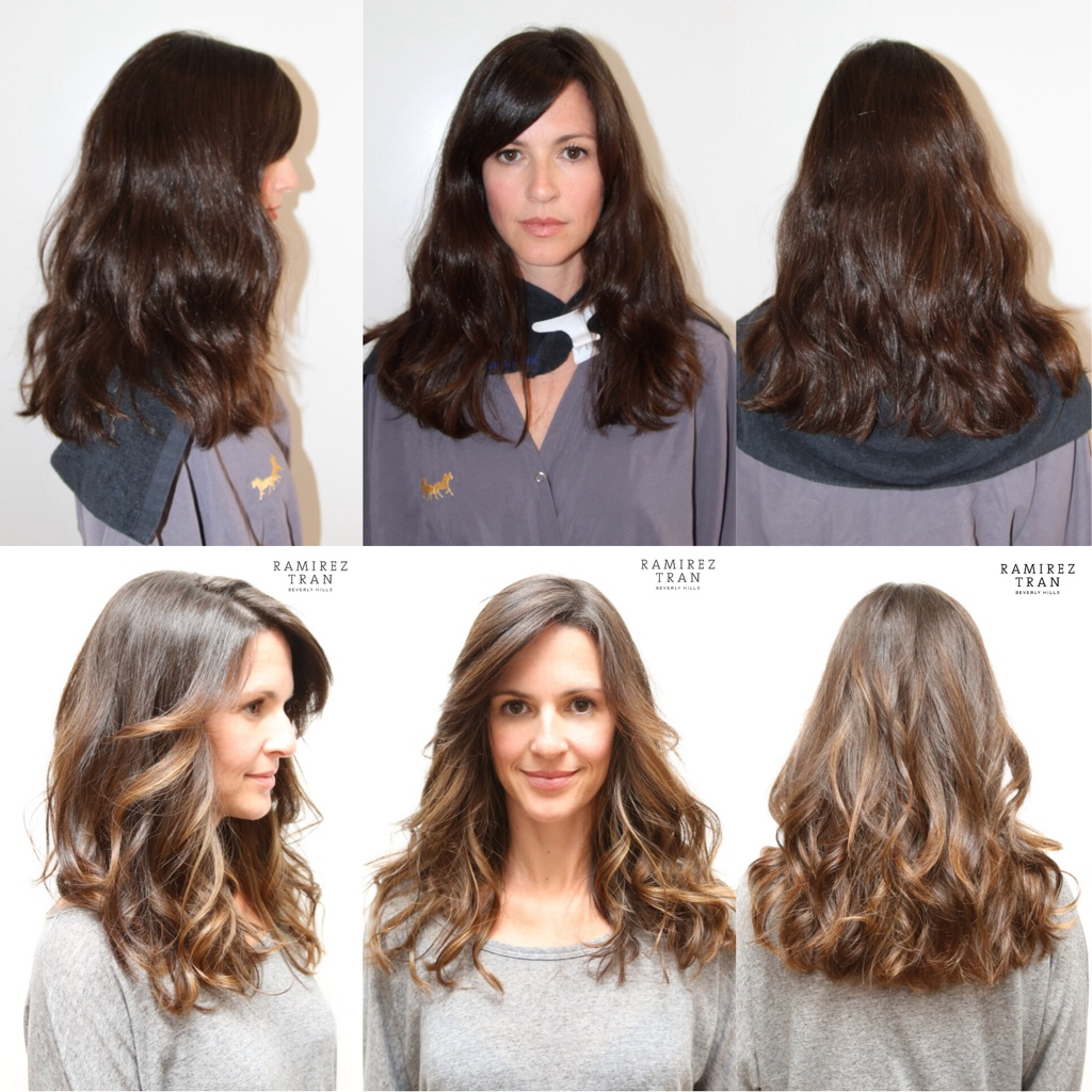Highlights for Dark Hair Before and After