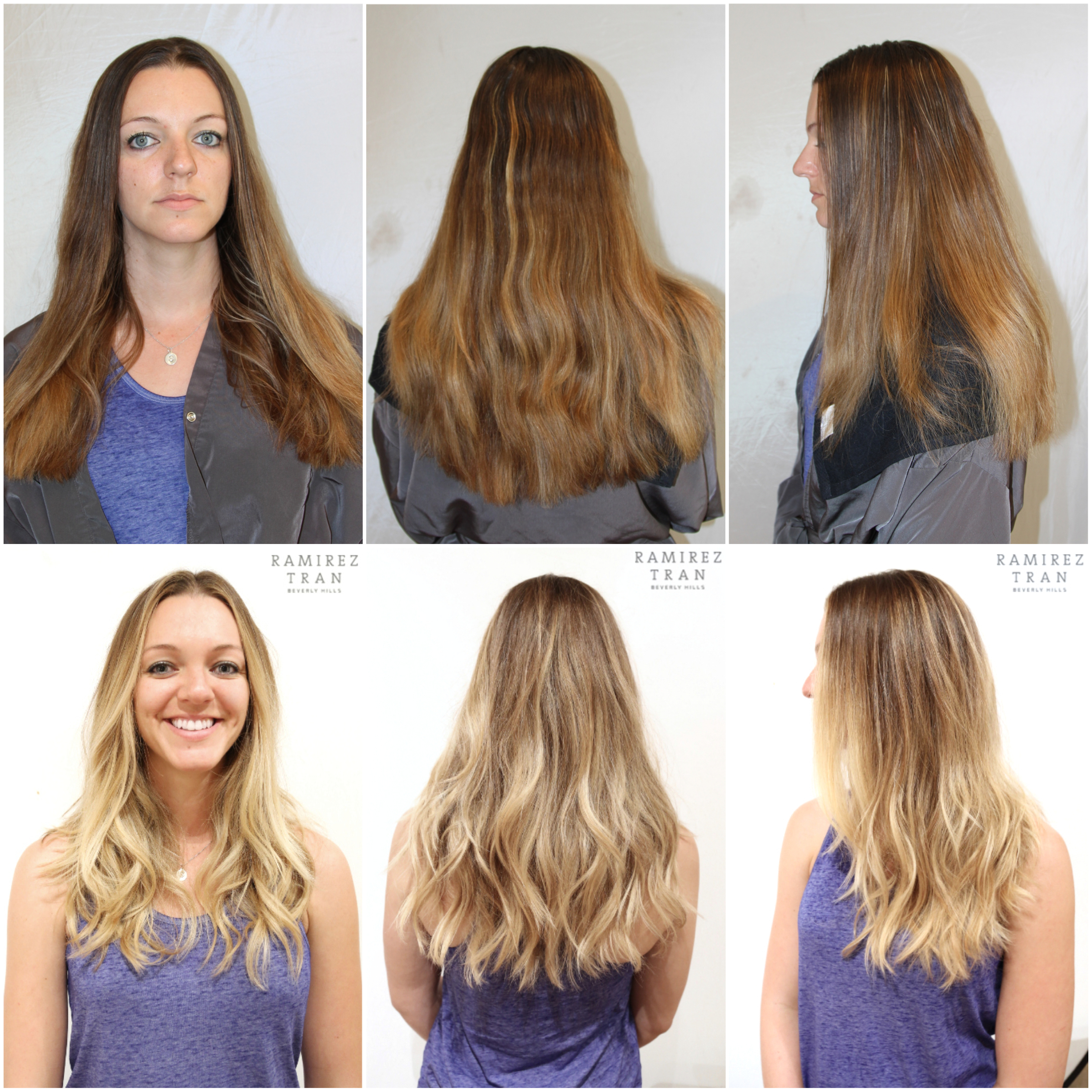 6e4650a53 This client came in with uneven brassy colored hair that was overdue for a  nice haircut. Johnny blended a natural looking beige color with golden  blonde ...